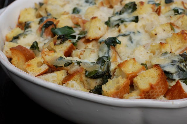 Spinach & Cheese Strata by Eve Fox, Garden of Eating blog copyright 2010