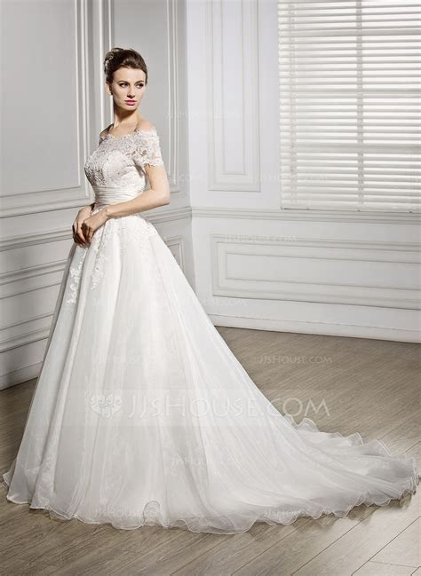Ball Gown Off the Shoulder Court Train Organza Wedding