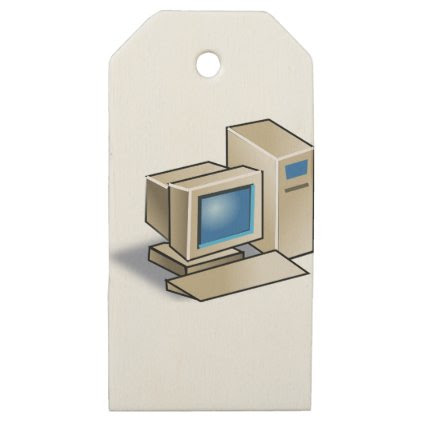 Retro Computer Wooden Gift Tags