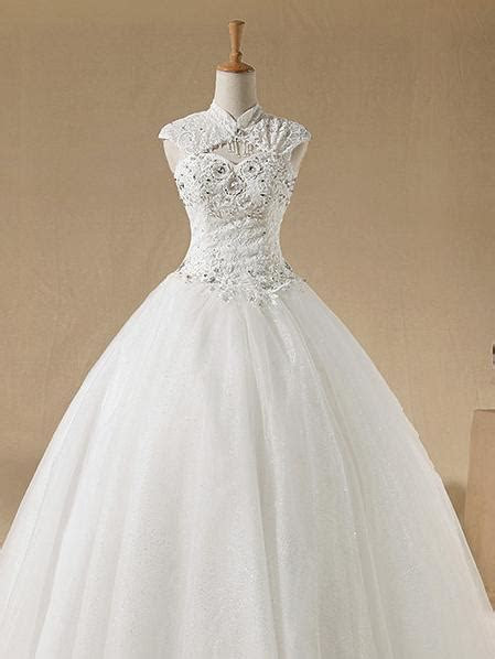 Sleeveless Mandarin Collar Satin and Organza Wedding Dress