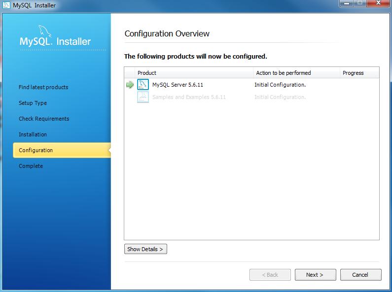 Install MySQL Step 8 - Configuration Overview