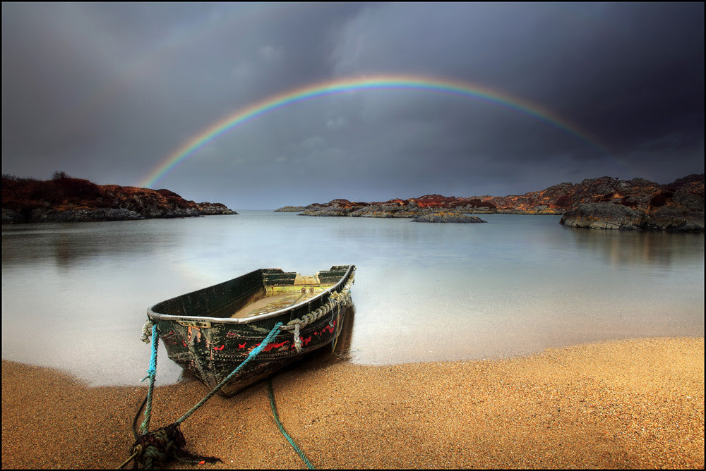 Rainbow and a wee boat - Ardtoe - Scotland