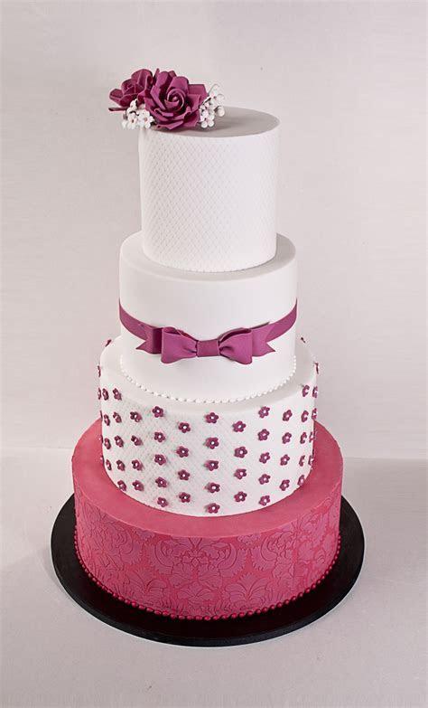 Fuschia Wedding Cake   CakeCentral.com
