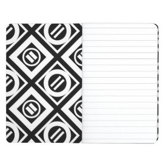 White Equal Sign Geometric Pattern on Black Journals
