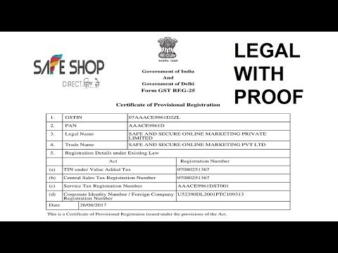 SAFE SHOP Fully Legal Business With Proof - Buy legal documents online