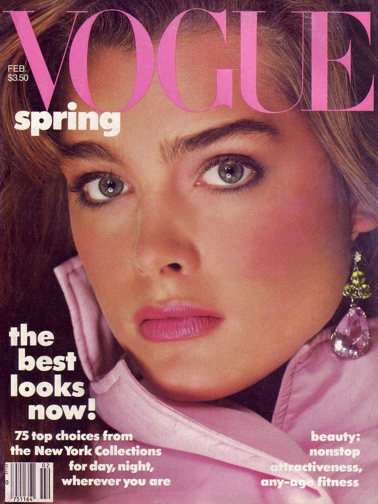 Brooke Shields by Richard Avedon, February 1985. Makeup y Francois Nars. Peridot pendant, worn as an earring, by Paloma Picasso for Tiffany.