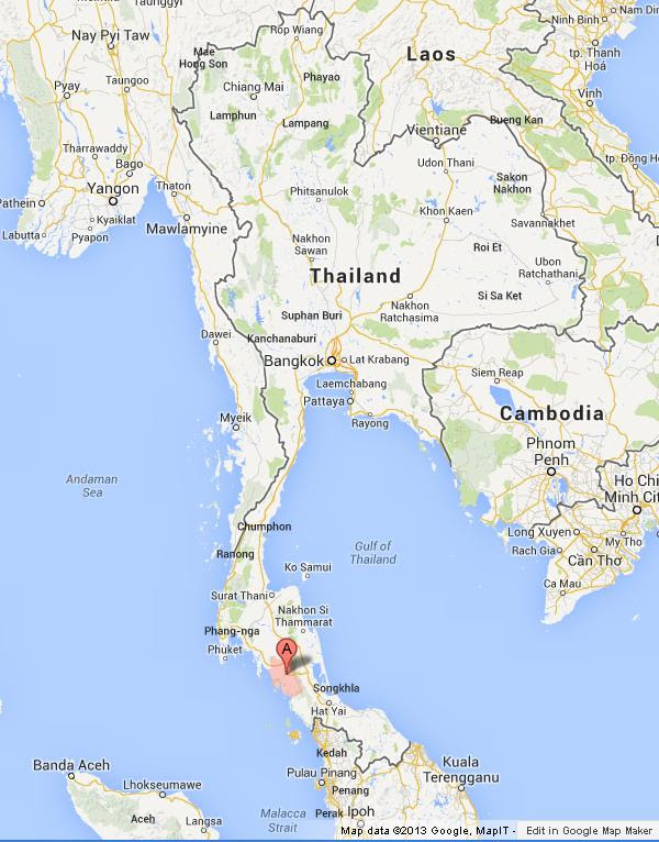 Trang on Map of Thailand