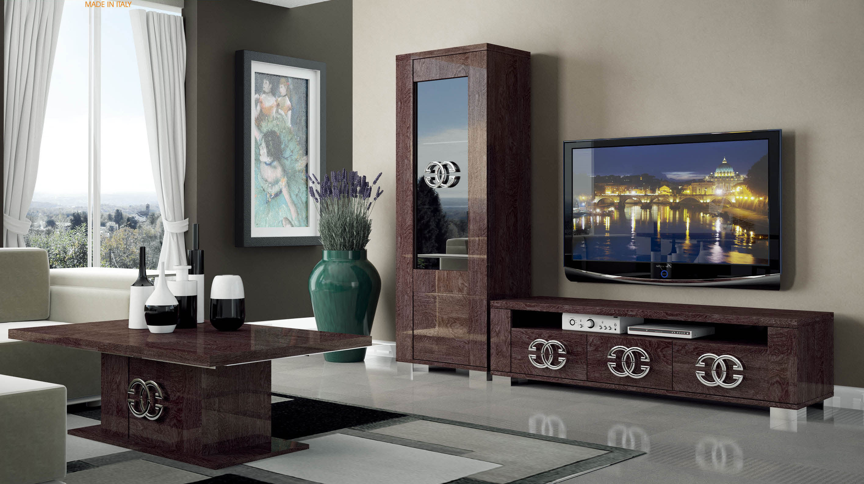 made in italy luxury tv base wall unit walnut esfprestige
