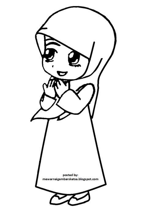 mewarnai gambar mewarnai gambar gadis cantik berhijab