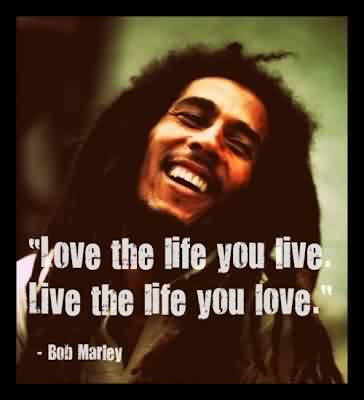 Love Celebrity Quote By Bob Marley Love The Life You Live
