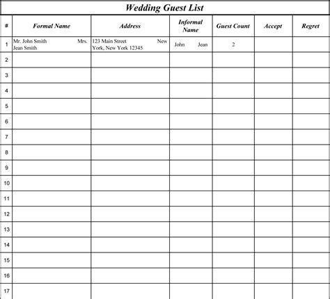 15 Best Images of Wedding Guest List Worksheets