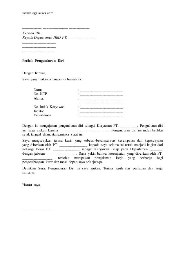 Contoh Surat Pengunduran Diri Karyawan Bank - Surat 8