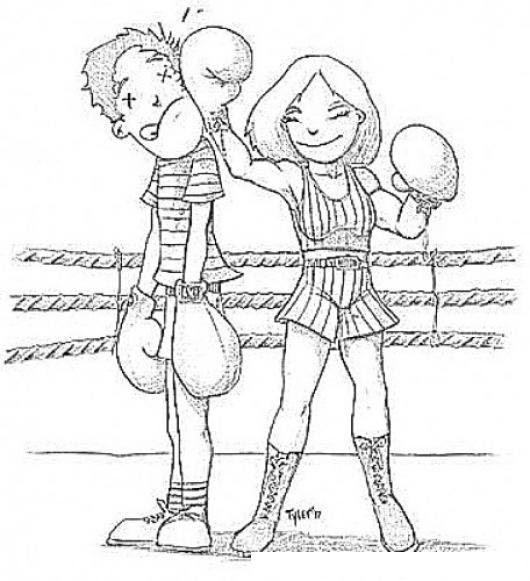 Dibujo De Mujer Boxeadora Pegandole A Un Hombre Para Pintar Y