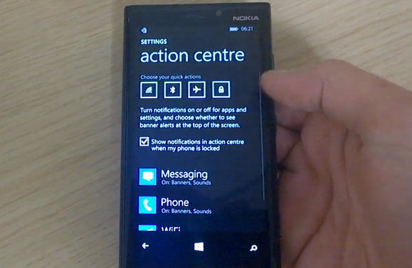 centro 8,1 notificação windows phone