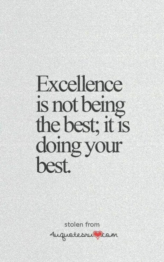 Excellence Is Not Being The Best It Is Doing Your Best