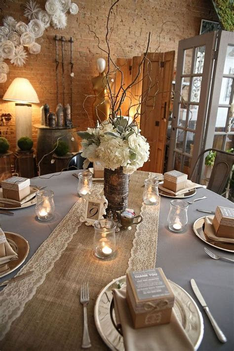 Burlap Table Decorations For Rustic Wedding(66)   Wedding