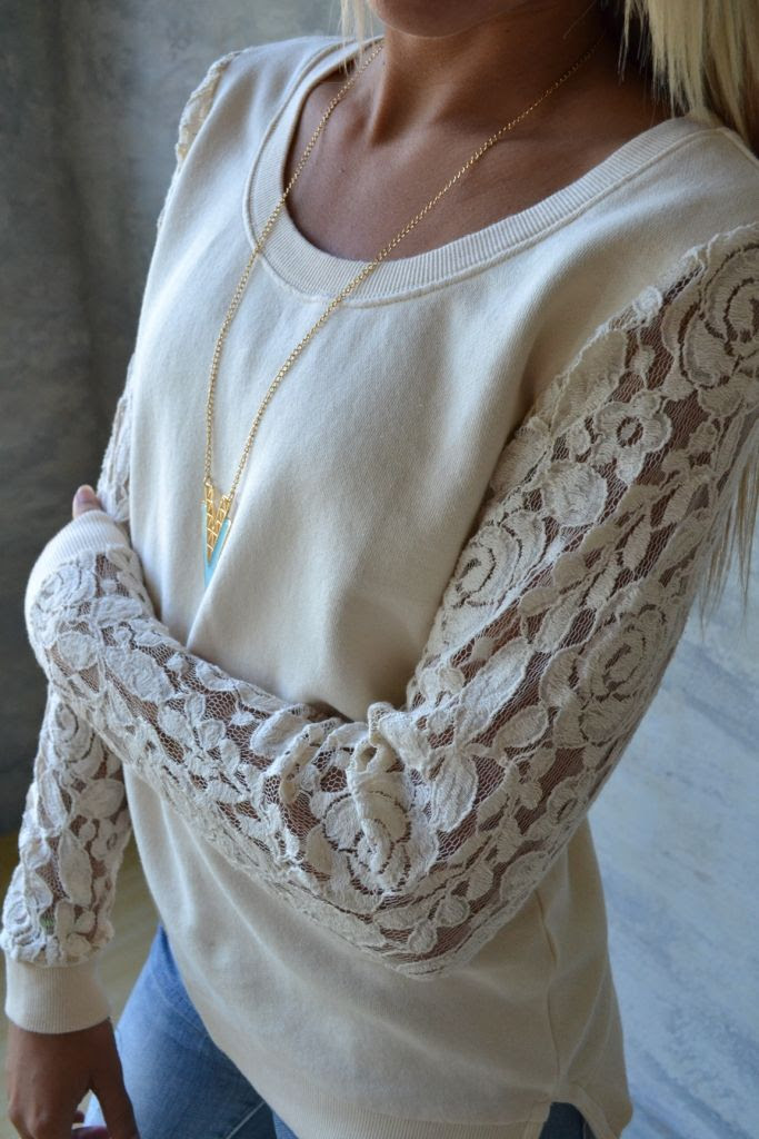 Lace sleeved sweatshirt