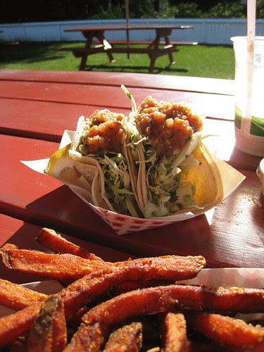 Fish tacos and sweet potato fries at Taylors Automatic Refresher