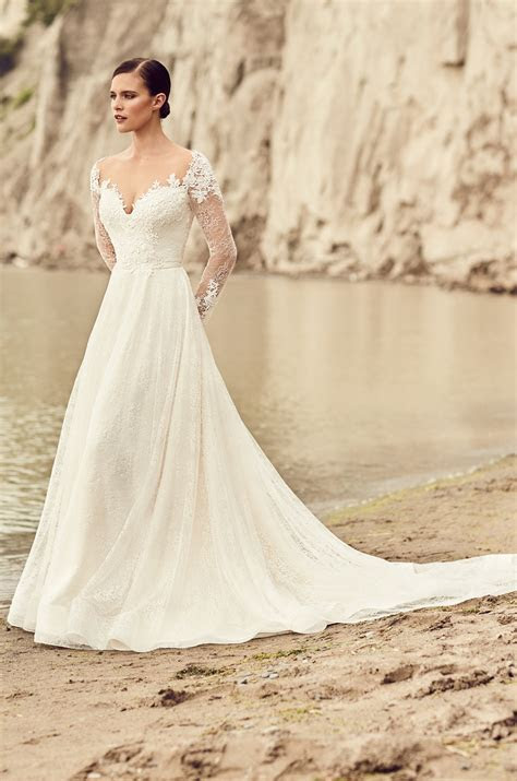 Embroidered Long Sleeve Wedding Dress   Style #2118
