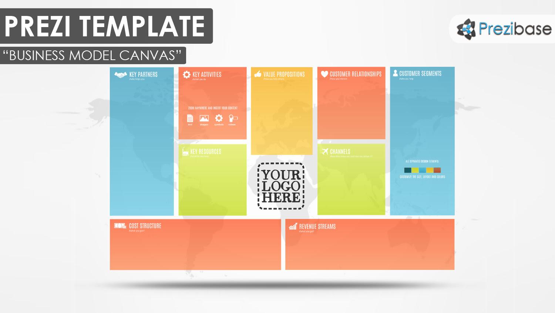 business model canvas creative colorful pitch plan prezi templates