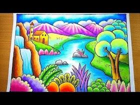 Gambar Pemandangan Gunung Menggunakan Pensil