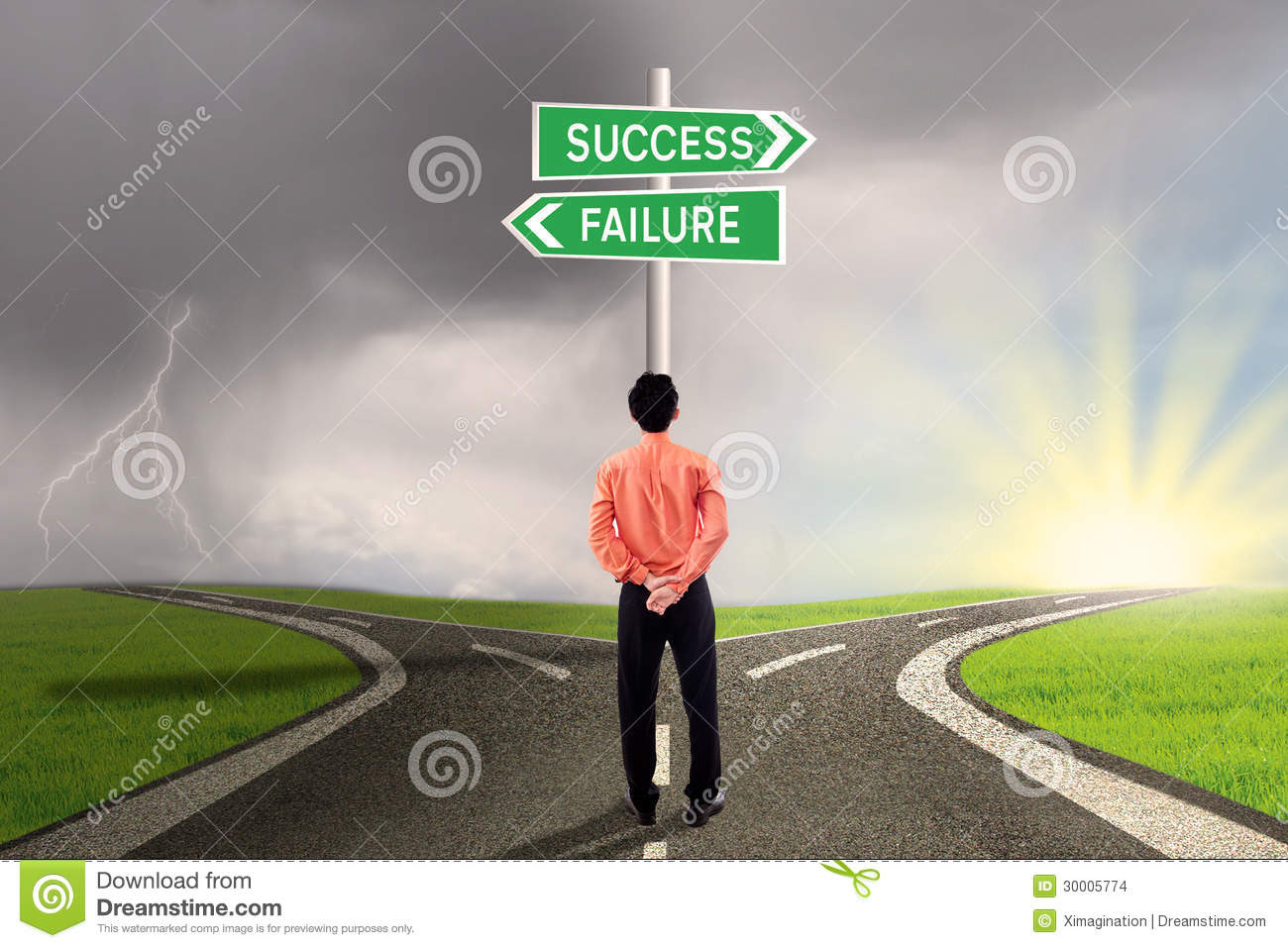 Businessman Choosing Success Or Failure Road Stock Images ...