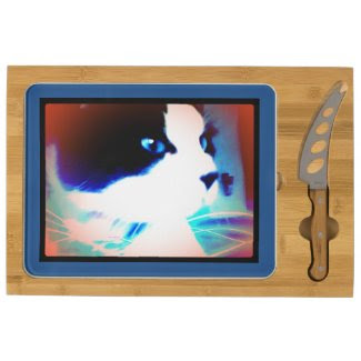 snowshoe cartoon like kitty rectangular cheeseboard