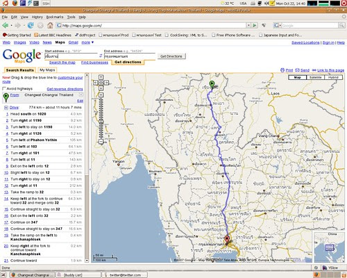 Google Maps Can Route Thailand Map From Chiang Rai To