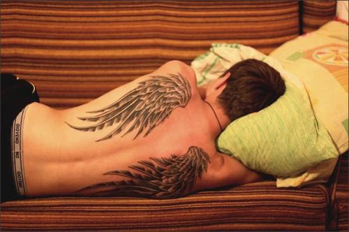 Tribal Wings Tattoos On Back Body