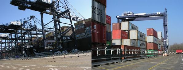 Container terminal showing quay cranes unloading and containers waiting to be transported to their destination [RM's photos but can obtain official photos from Port of Felixstowe].