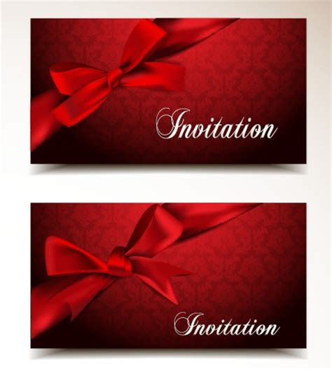 Red bow and red background Invitation cards vector 01 free