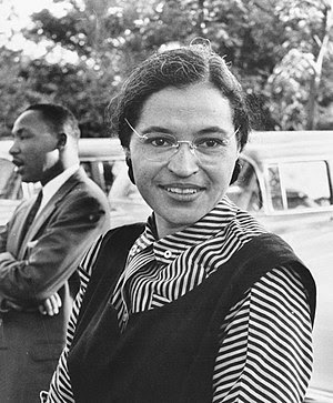 Photograph of Rosa Parks with Dr. Martin Luthe...