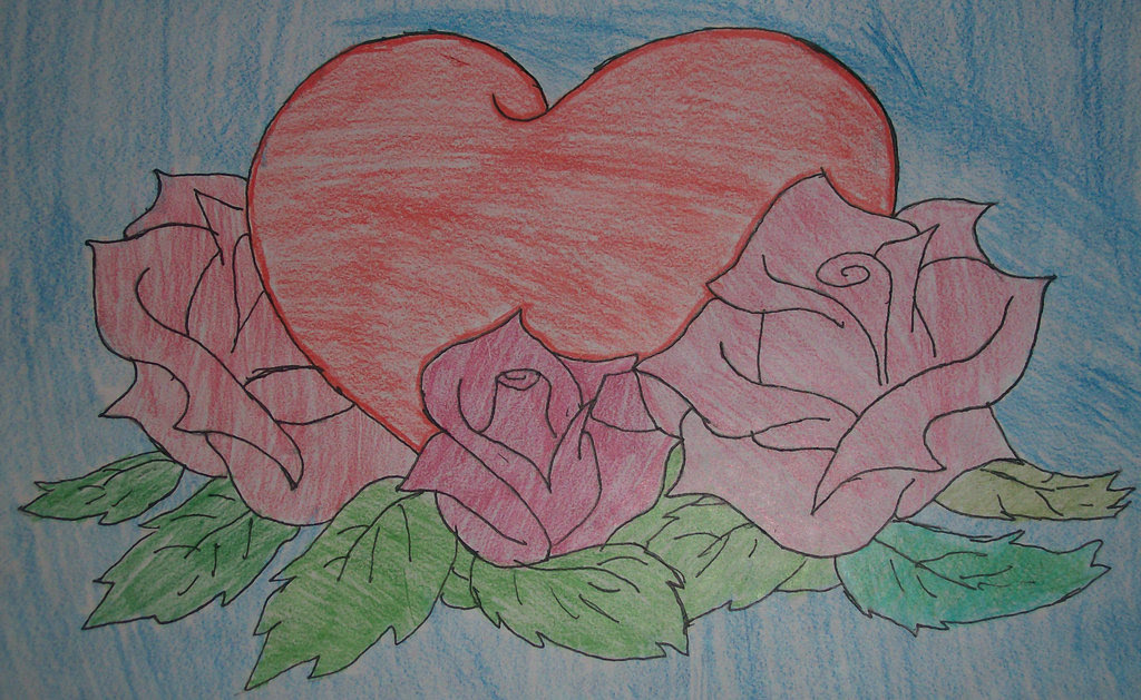 Pencil Drawing Of Hearts And Roses At Getdrawingscom Free For