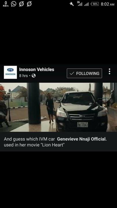 Genevieve Nnaji Used Innoson Motor (IVM) In Her 'Lionheart' Movie (Photo)