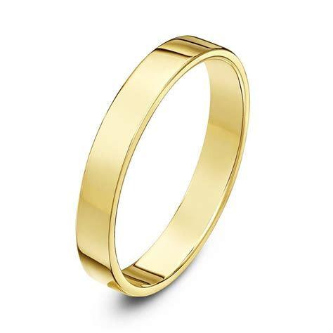 9kt Yellow Gold Light Flat Court 3mm Wedding Ring