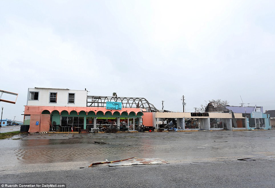 In Rockport, Texas, 130mph winds removed the dome roof of this building and battered the rest of its shell