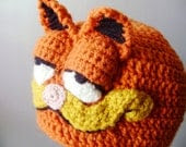 Crochet Hat - Retro Cartoon 3-D Cat Hat in Bright Orange with Ears and Snout for Children - Silly and Chunky Crochet Hat