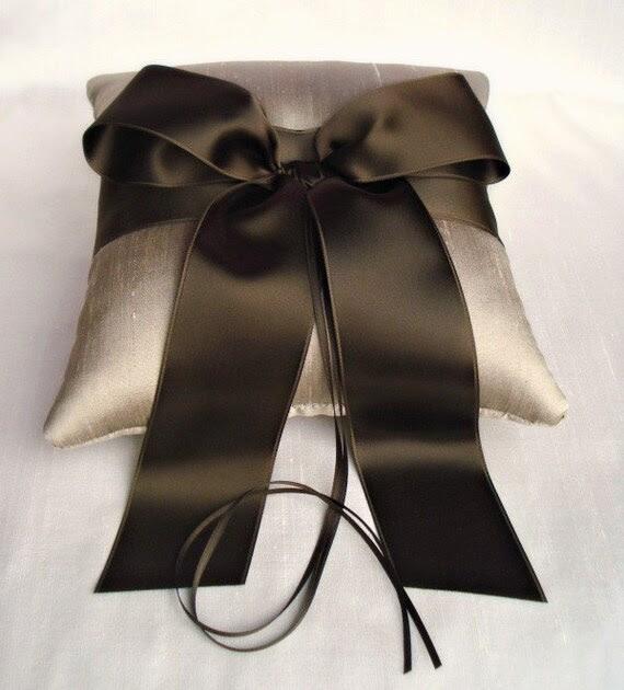 Taupe Silk Dupioni Brown Bow Ring Bearer Pillow