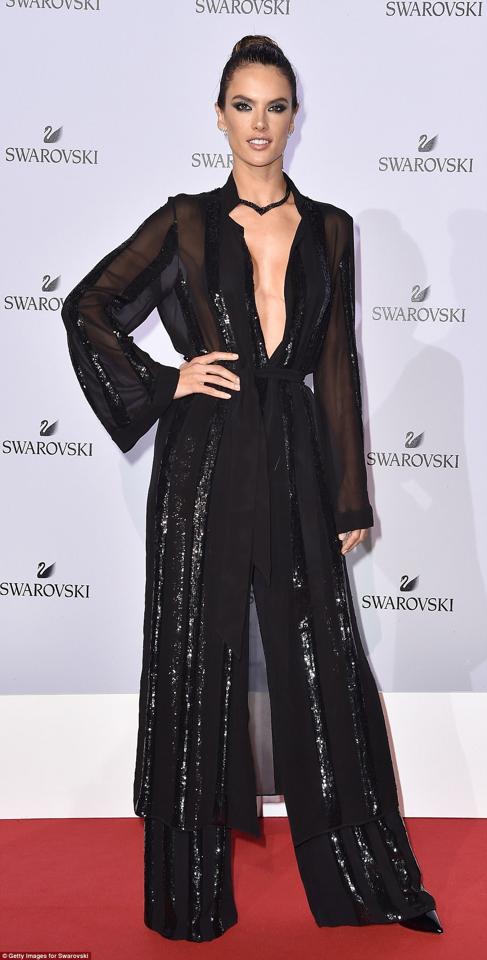 Stealing the show: Alessandra looked every inch the red carpet queen in her decadent one-piece, which featured racy sheer inserts combined with opulent black beading