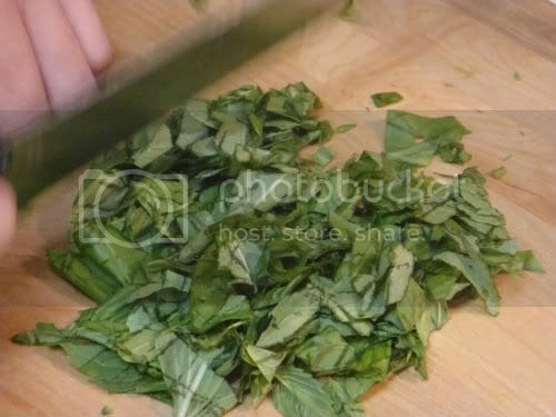 Chopping basil