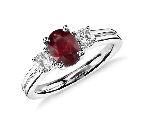 Ruby and Diamond Ring in 18k White Gold (7x5mm)   Blue Nile
