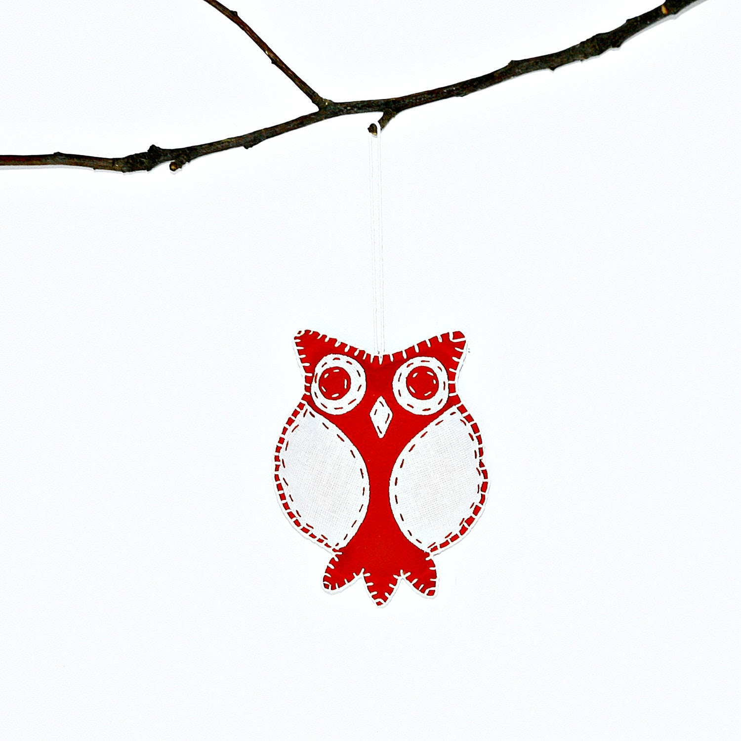 Handmade Owl Christmas Ornament with in White and Red