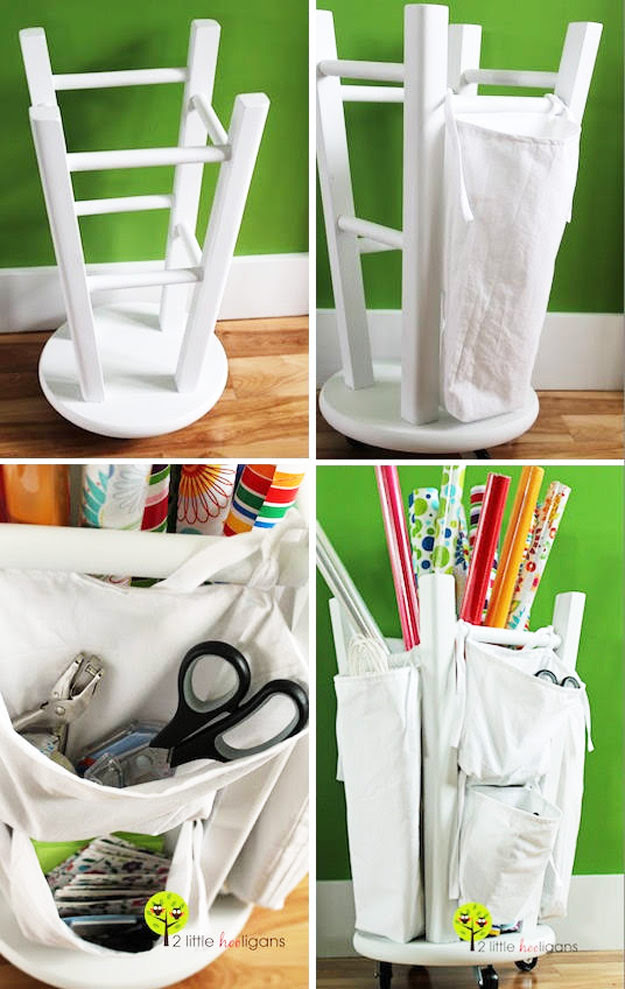 DIY Furniture Hacks | Wooden Stool into a Tool and Crafts Organizer | Cool Ideas for Creative Do It Yourself Furniture Made From Things You Might Not Expect - http://diyjoy.com/diy-furniture-hacks