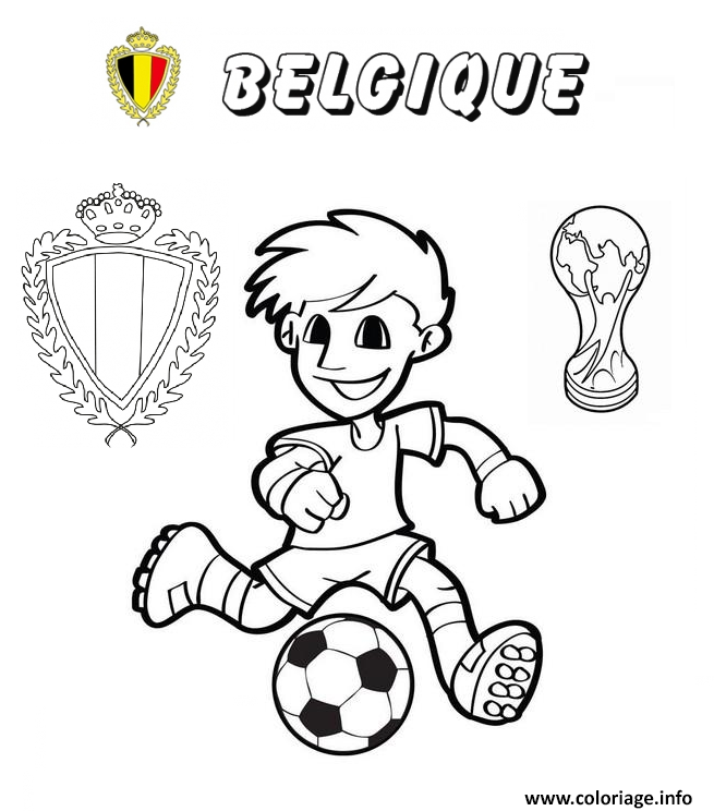 Coloriage Belgique Football Coupe Du Monde 2018 Jecoloriecom
