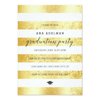 Golden Stripes Graduation Invitation