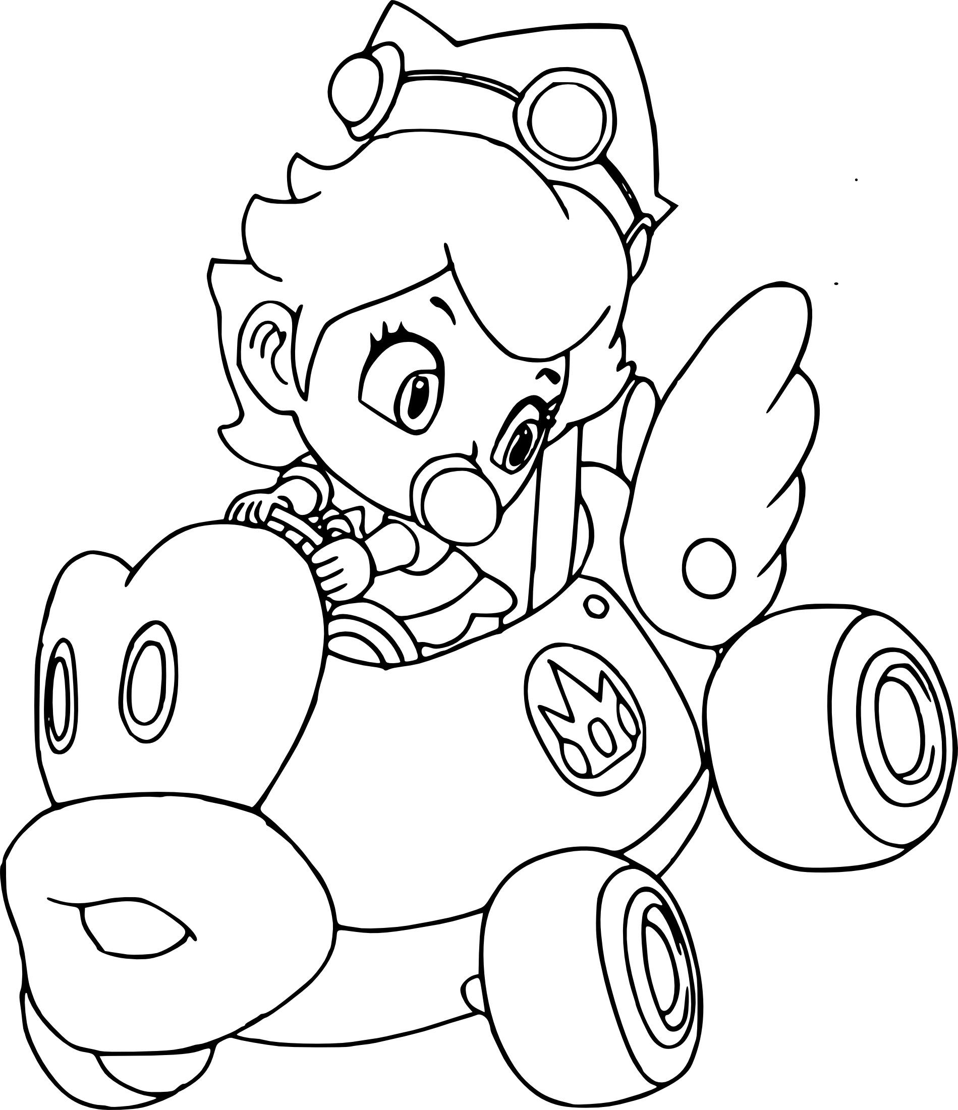 Coloriage Peach Mario Kart à Imprimer