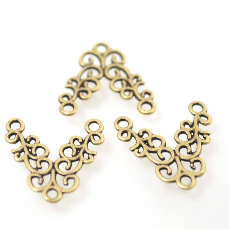 s49011 Metal Link -  Curly V - Antiqued Brass