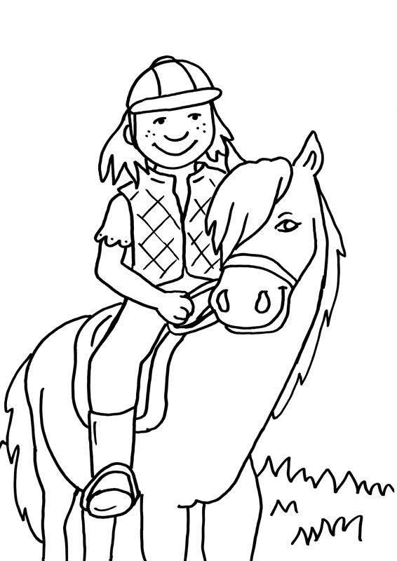 Kostenlose Malvorlage Pferde: Kleine Reiterin zum Ausmalen ...