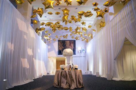 reception decor  gold star balloons  cocktail