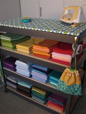 Ironing board on top of shelves. Perfect way to organize a craft room.
